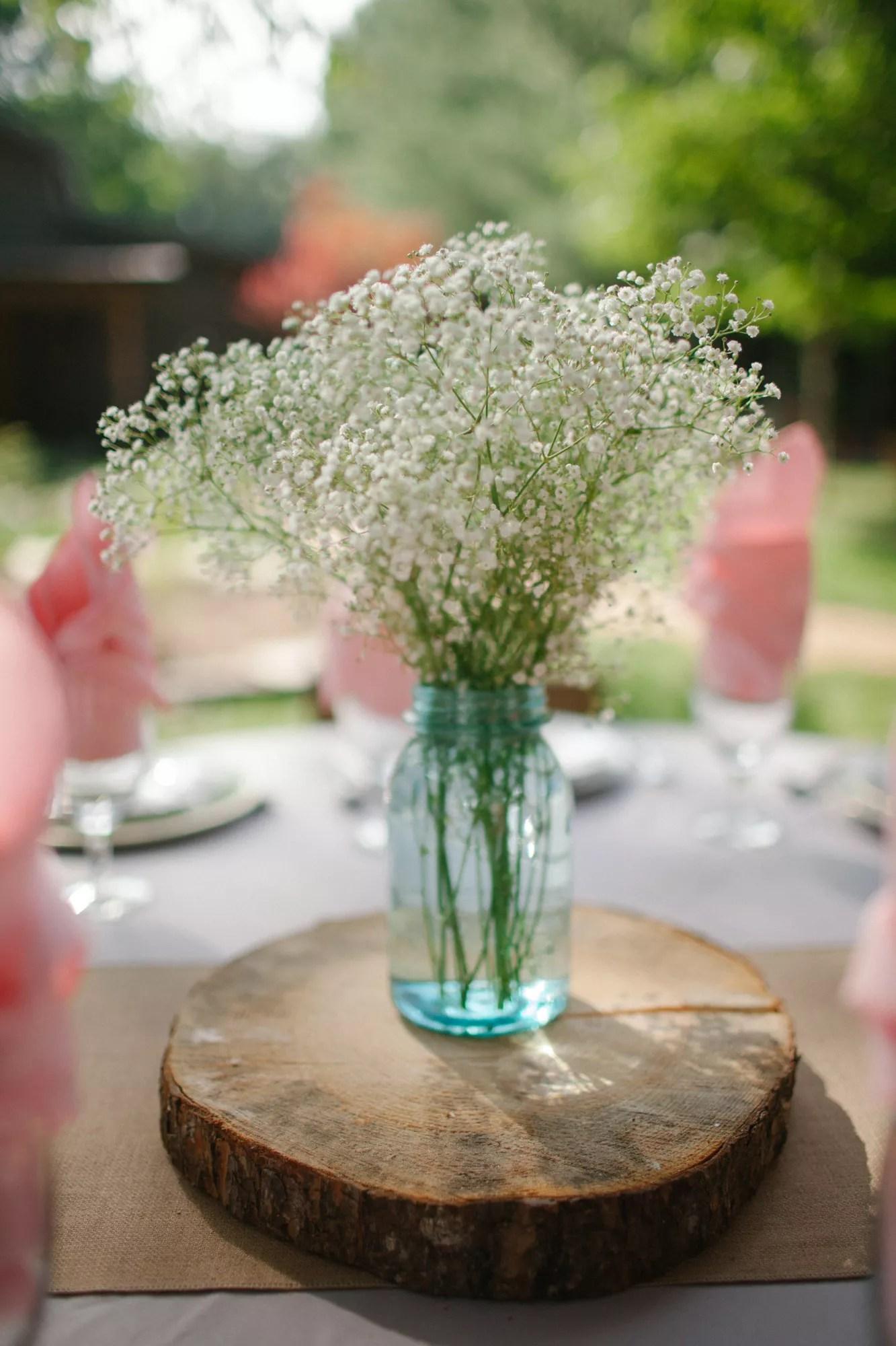 Simple White Baby S Breath Wedding Reception Centerpieces