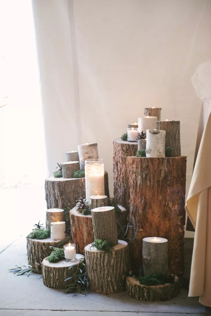 TreeStump Centerpiece With Candles