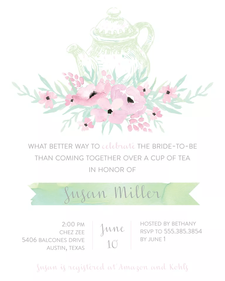 Champagne Themed Bridal Shower Invitations