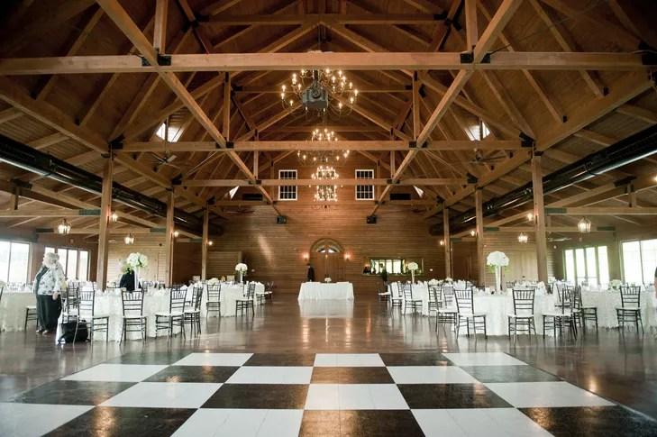 Barn Reception With Checkerboard Dance Floor