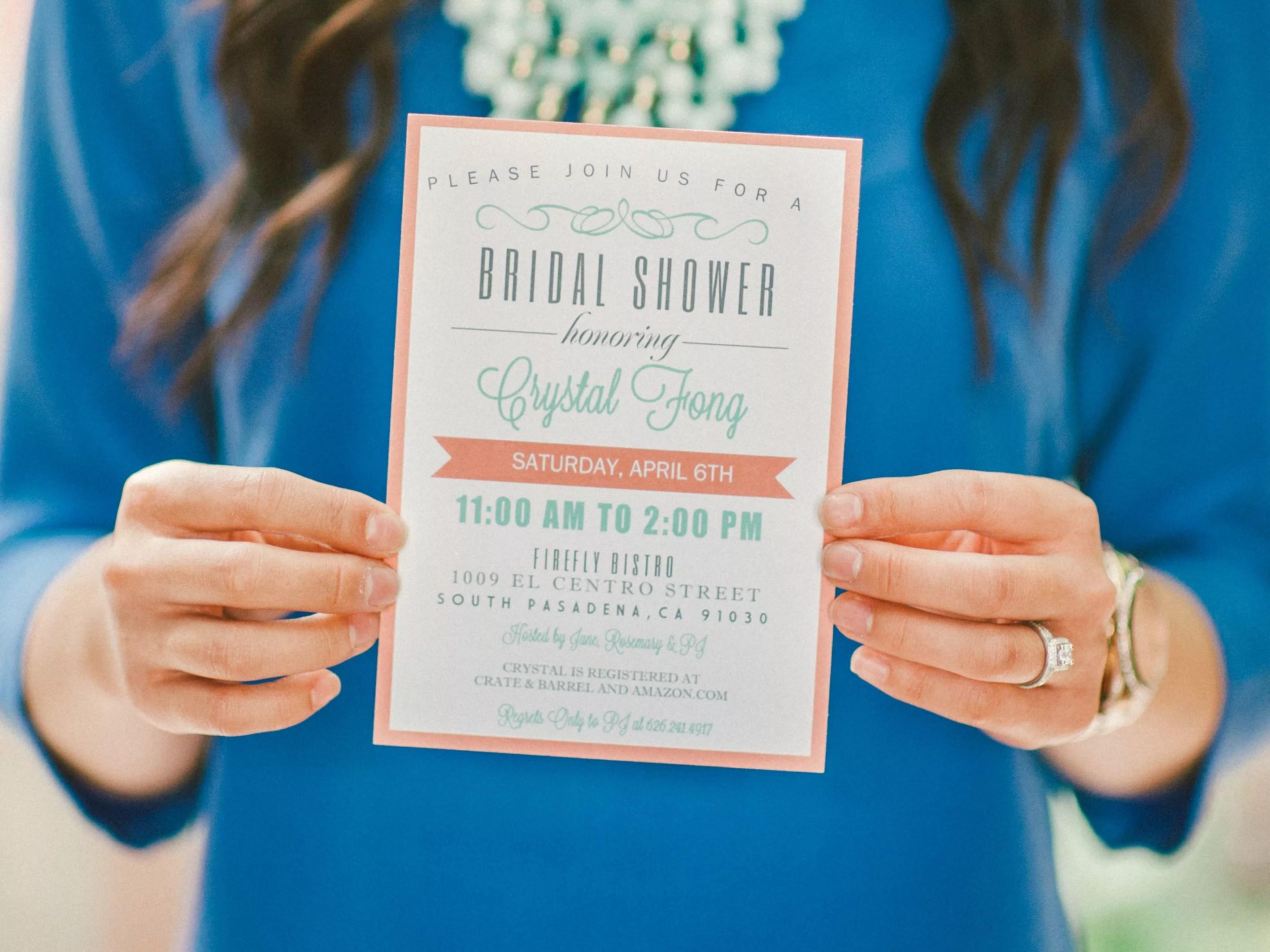 Bridal Shower Invitations Etiquette Wording