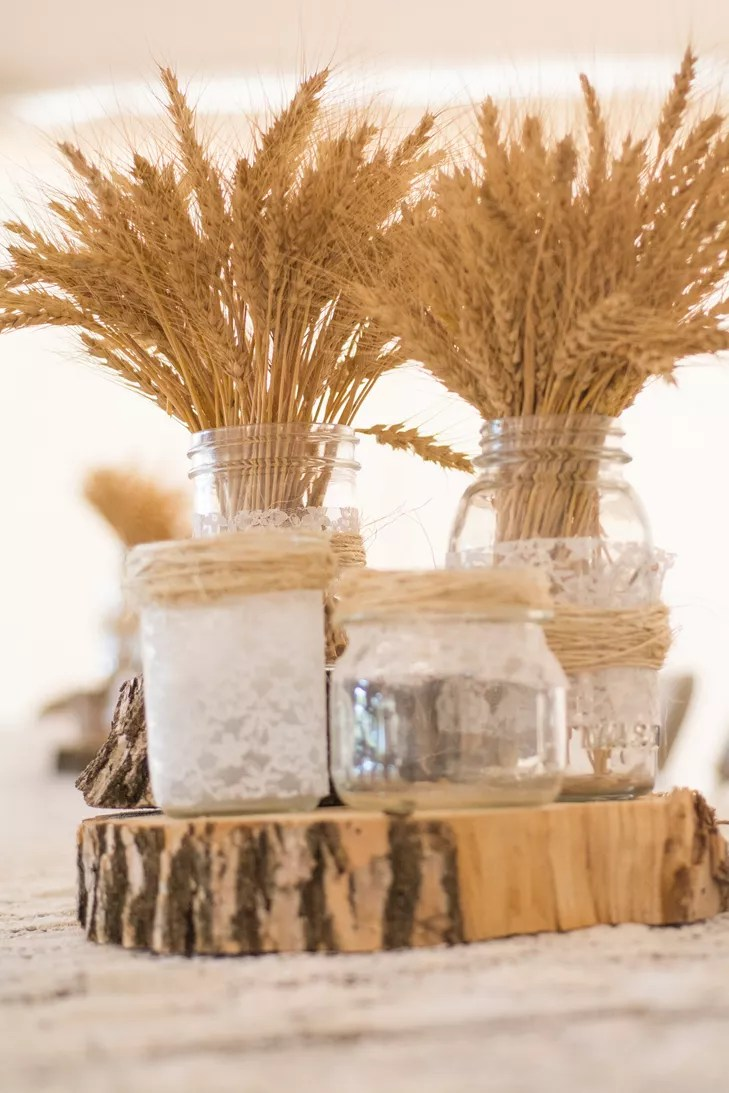 Vintage Lace Wrapped Mason Jar Wedding Centerpieces