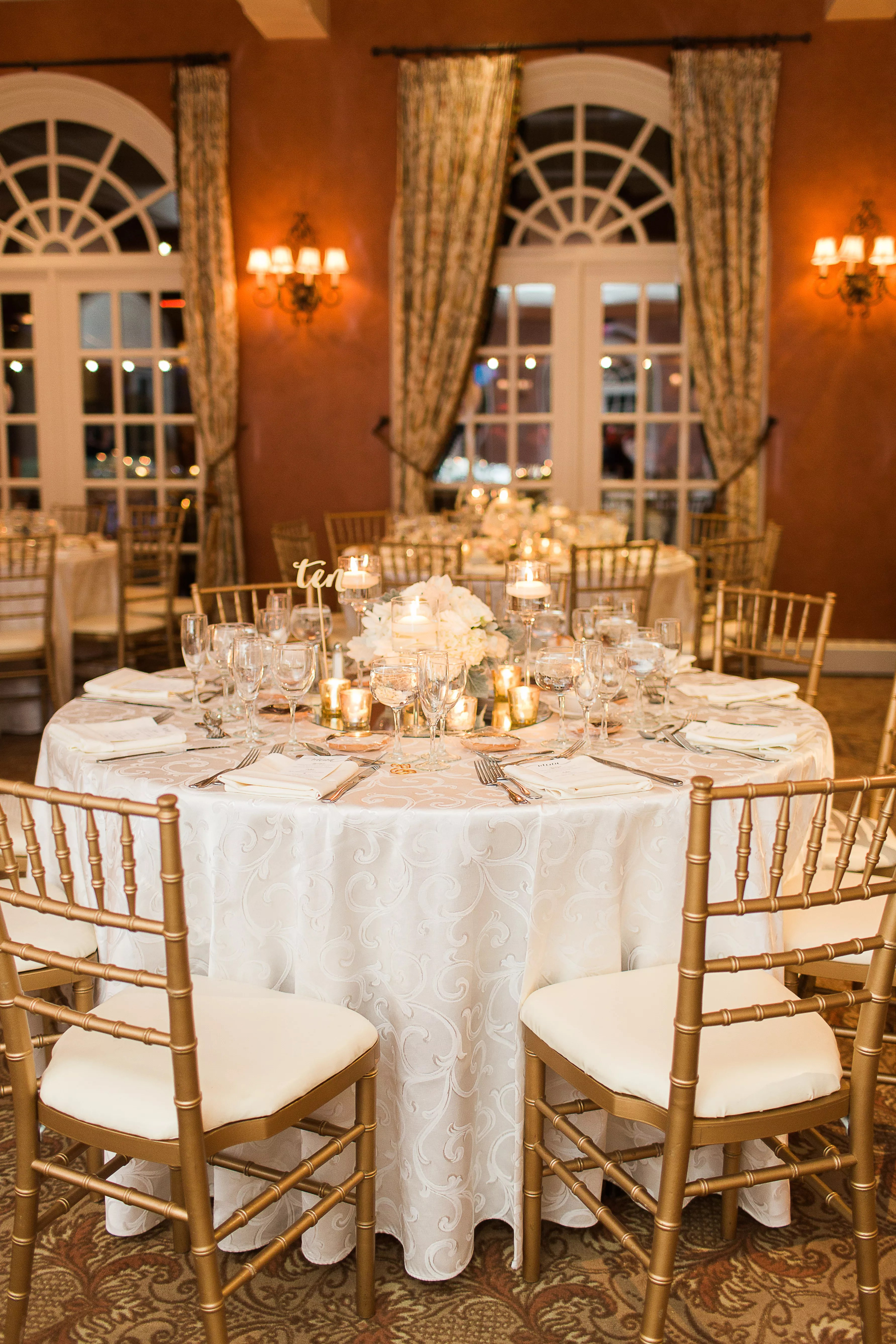 Gold and White Round Reception Table