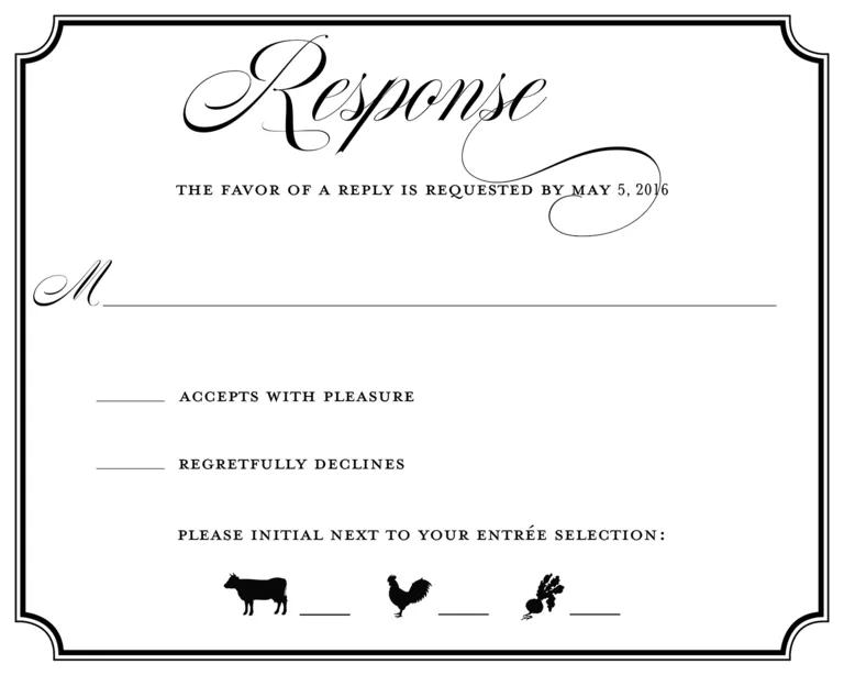 wedding response card samples