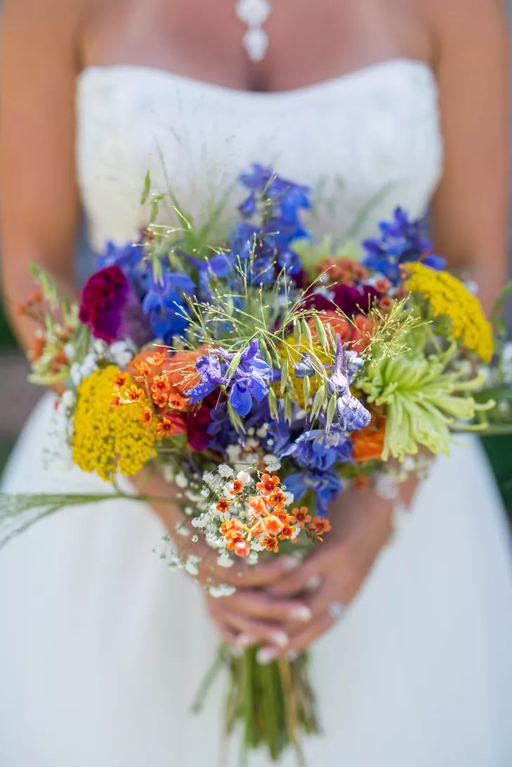 WildflowerInspired Colorful Bridal Bouquet