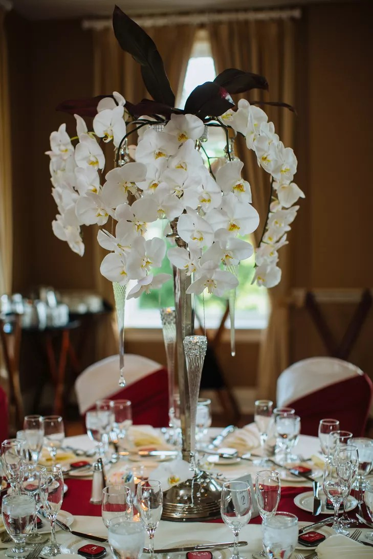 Cascading White Orchid Centerpieces