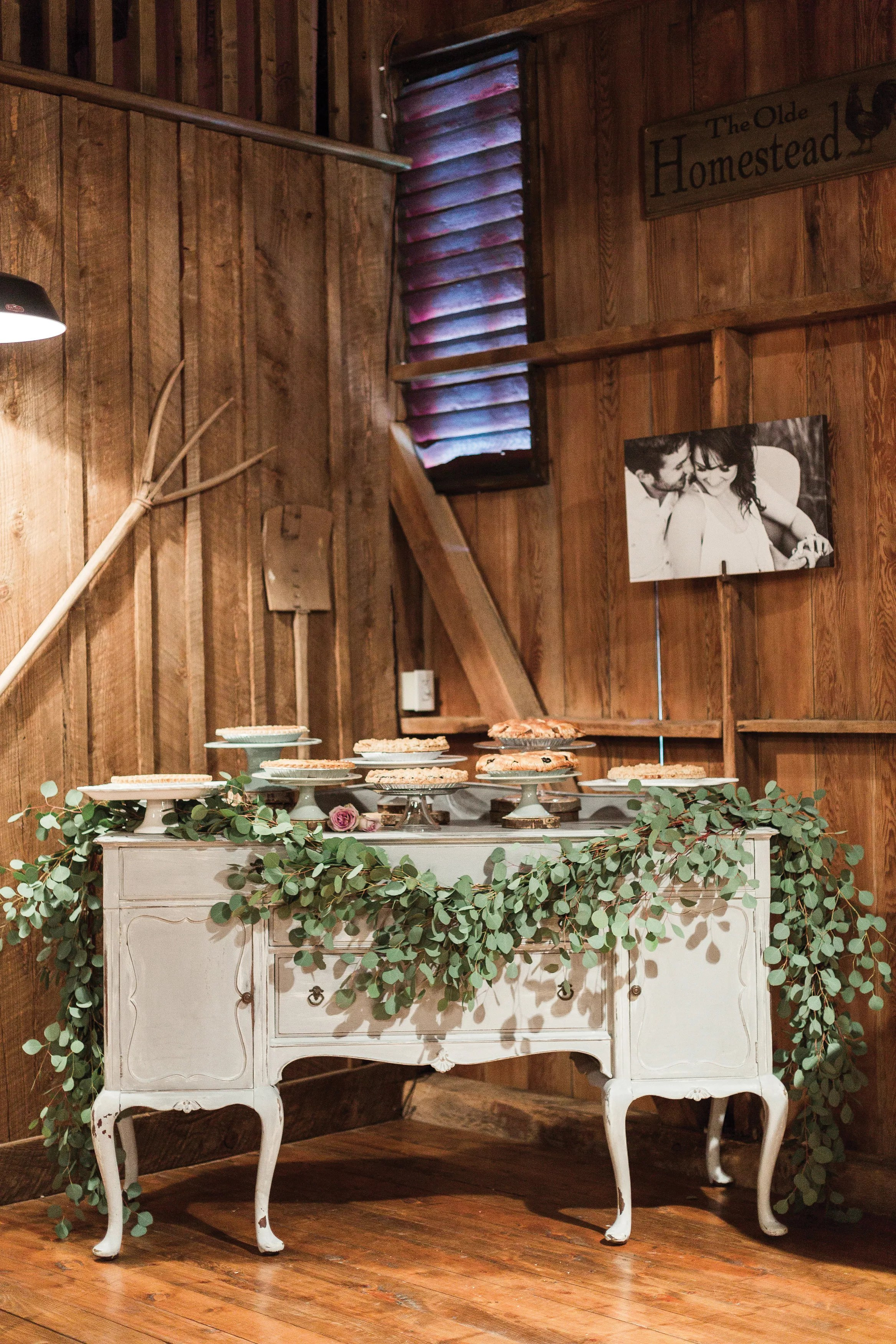 Vintage Pie Table With A Eucalyptus Garland