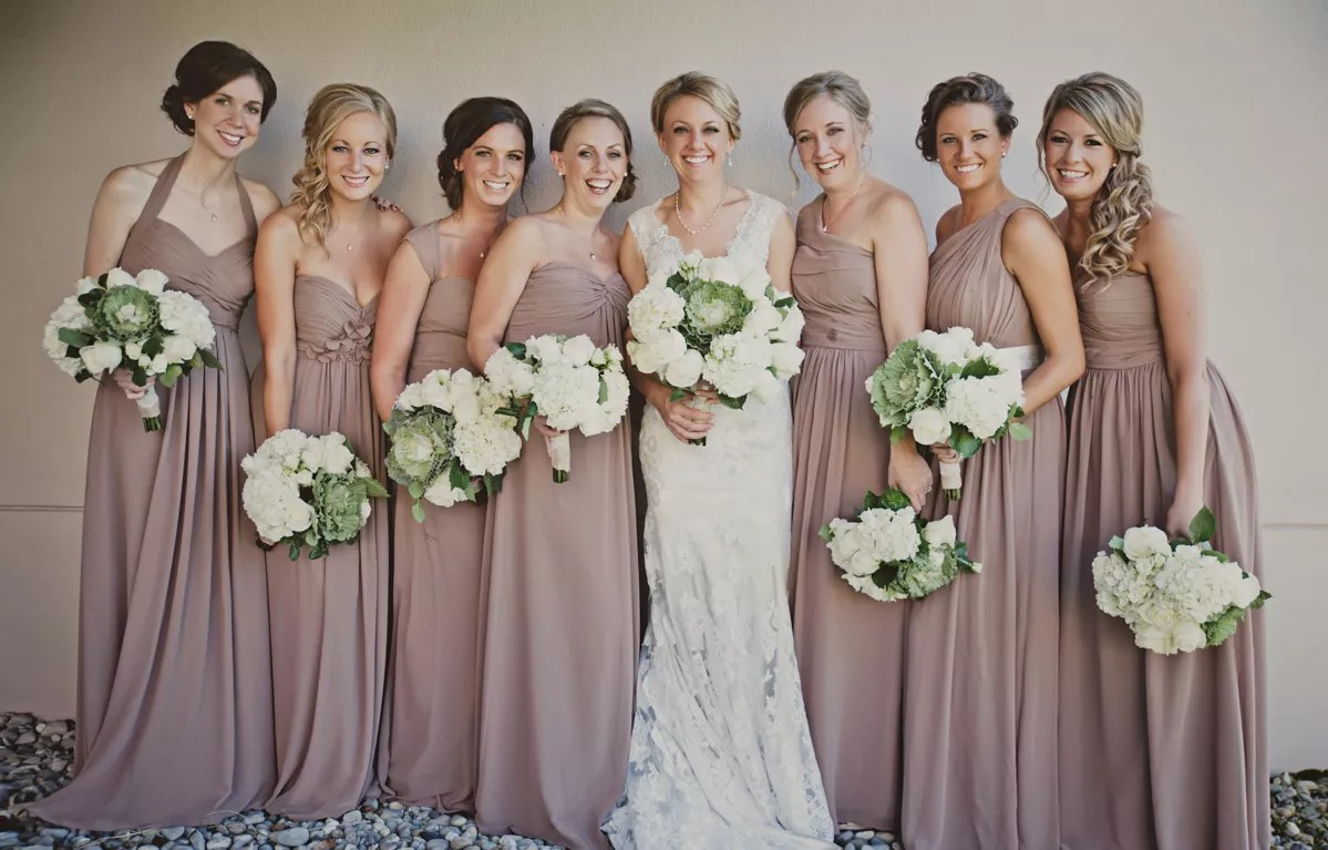 Full-Length Taupe Bridesmaid Dresses And Cabbage Flower