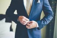 Navy Blue Suit, Tan Tie
