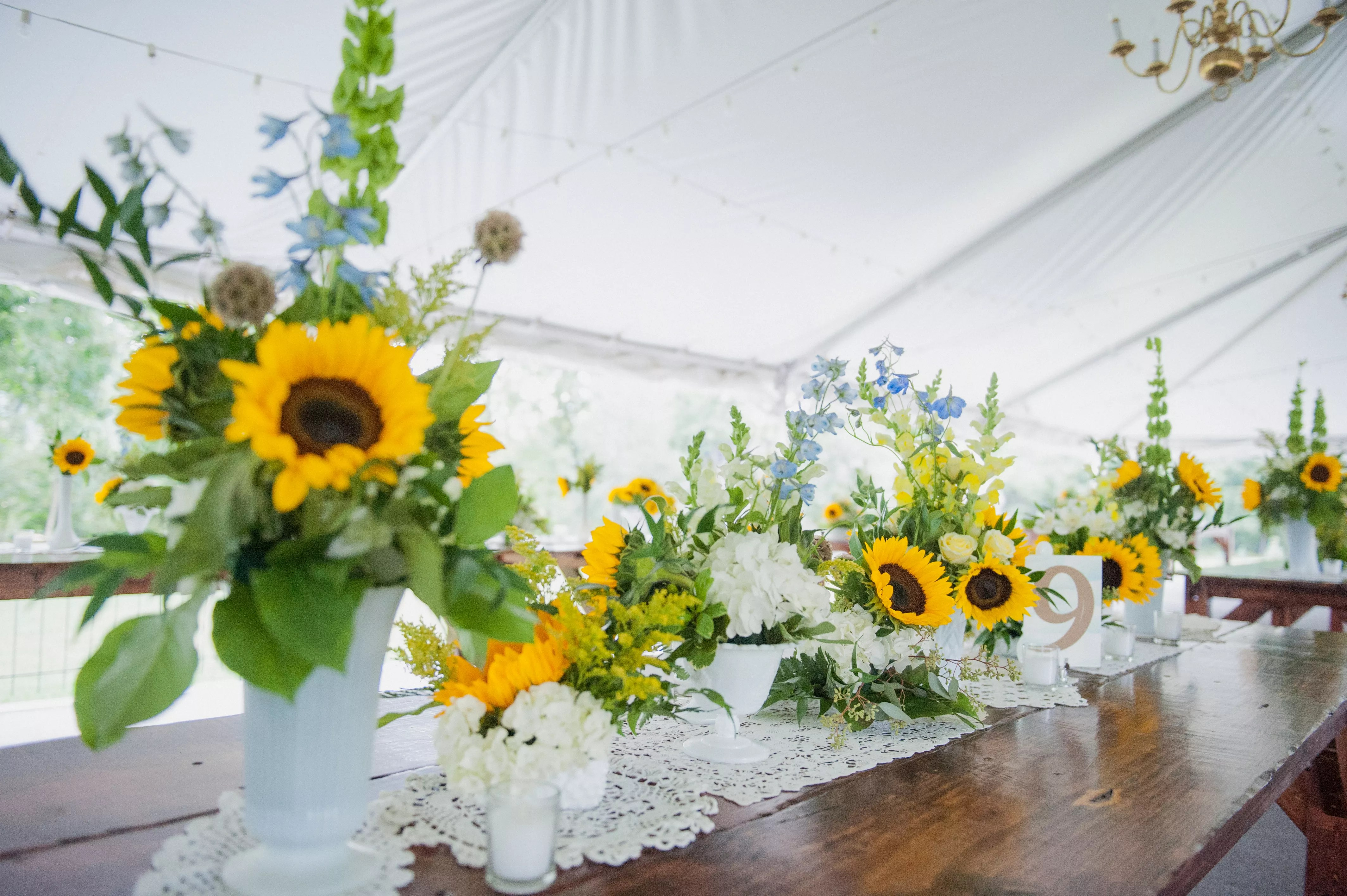 Sunflower and White Hydrangea Tablescape