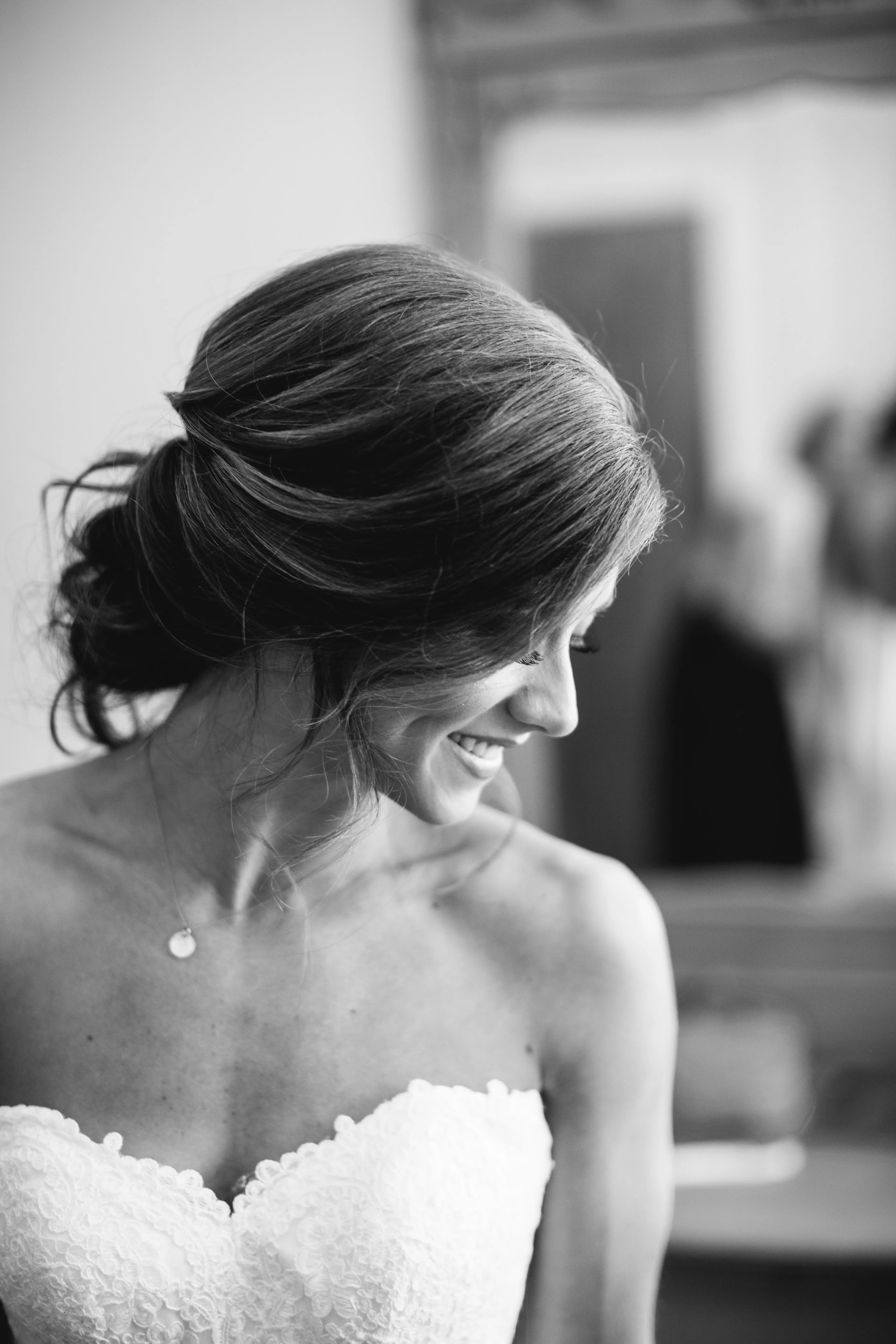 Loose Wedding Updo With Loose Curls