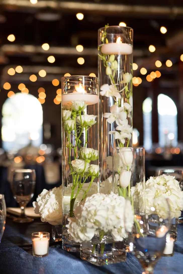 Contemporary White Orchid Submerged Centerpieces