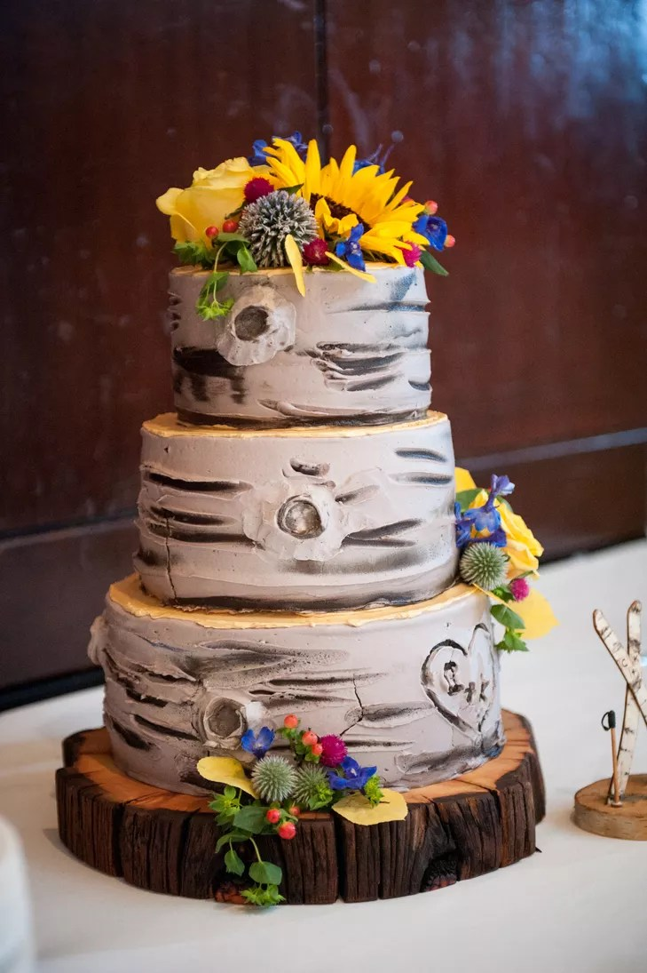 Aspen TreeInspired ThreeTier Wedding Cake