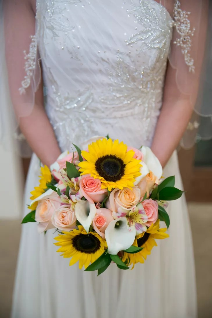 Pink Bouquet With Sunflowers and Callas
