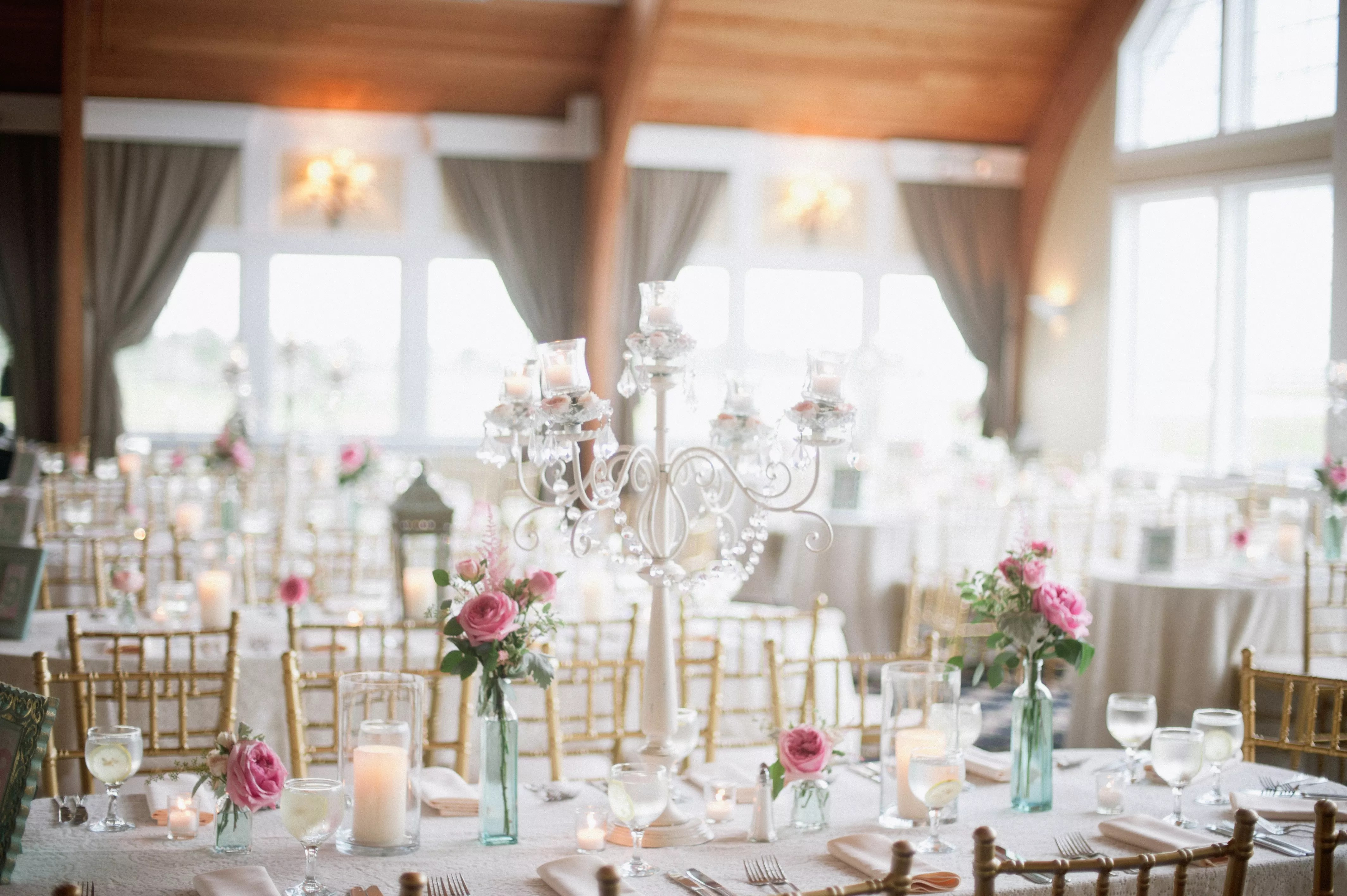 Candelabra and Bud Vase Centerpieces