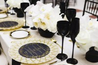 Black, Gold and White Table Setting