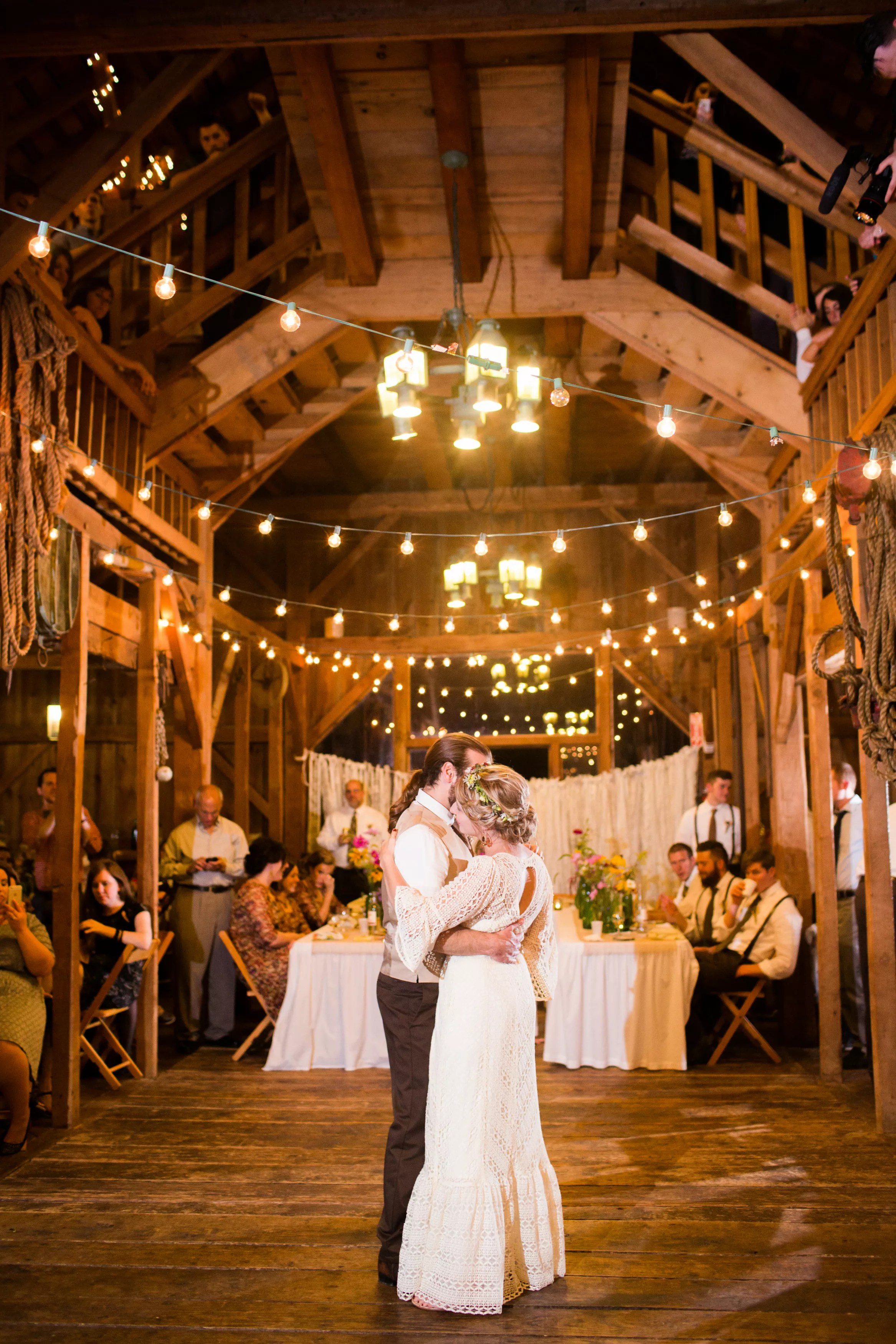 String Lights Over Wooden Dance Floor