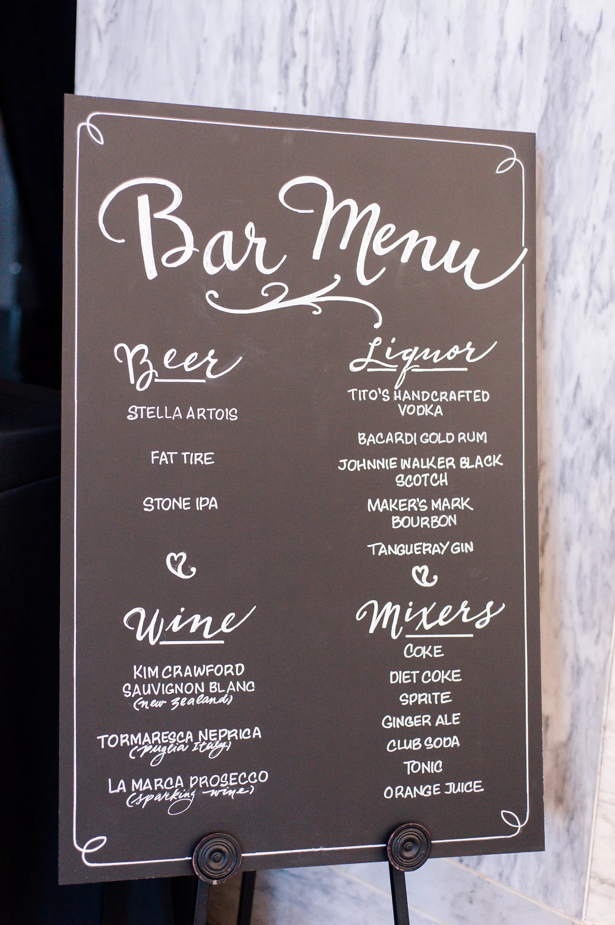 Elegant Chalkboard Bar Menu