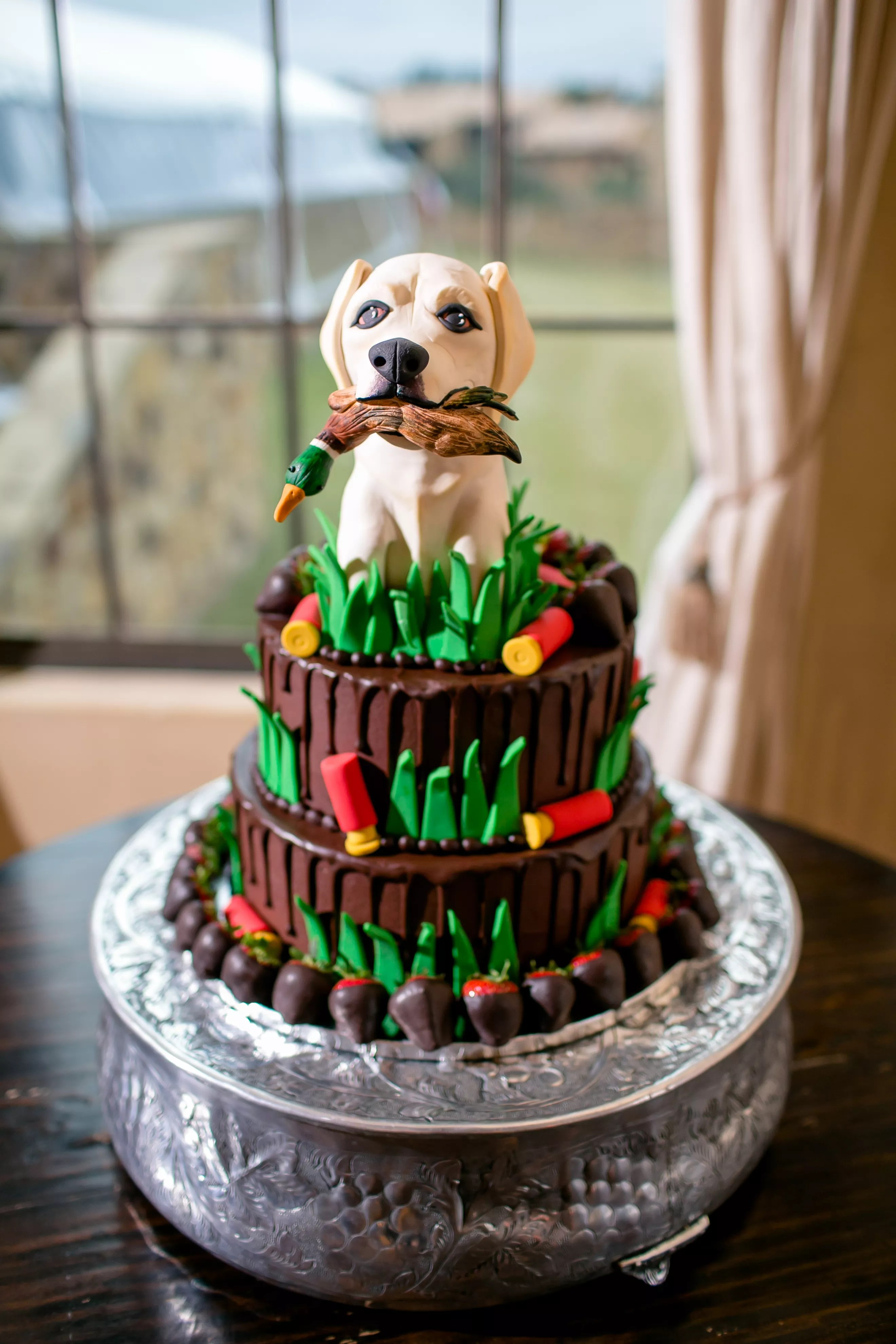 Whimsical Grooms Cake with Hunting Dog Topper