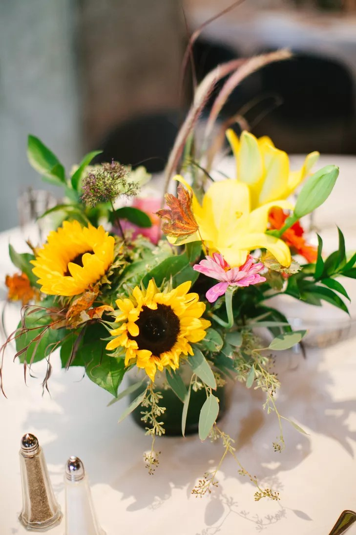 Yellow Lily and Sunflower Centerpiece