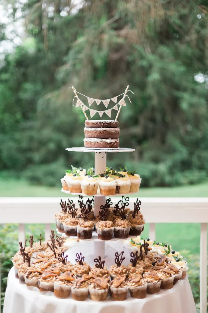 Tiered Cupcakes With Naked Cake Topper