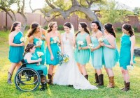 Bridesmaids in Turquoise Dresses and Cowboy Boots