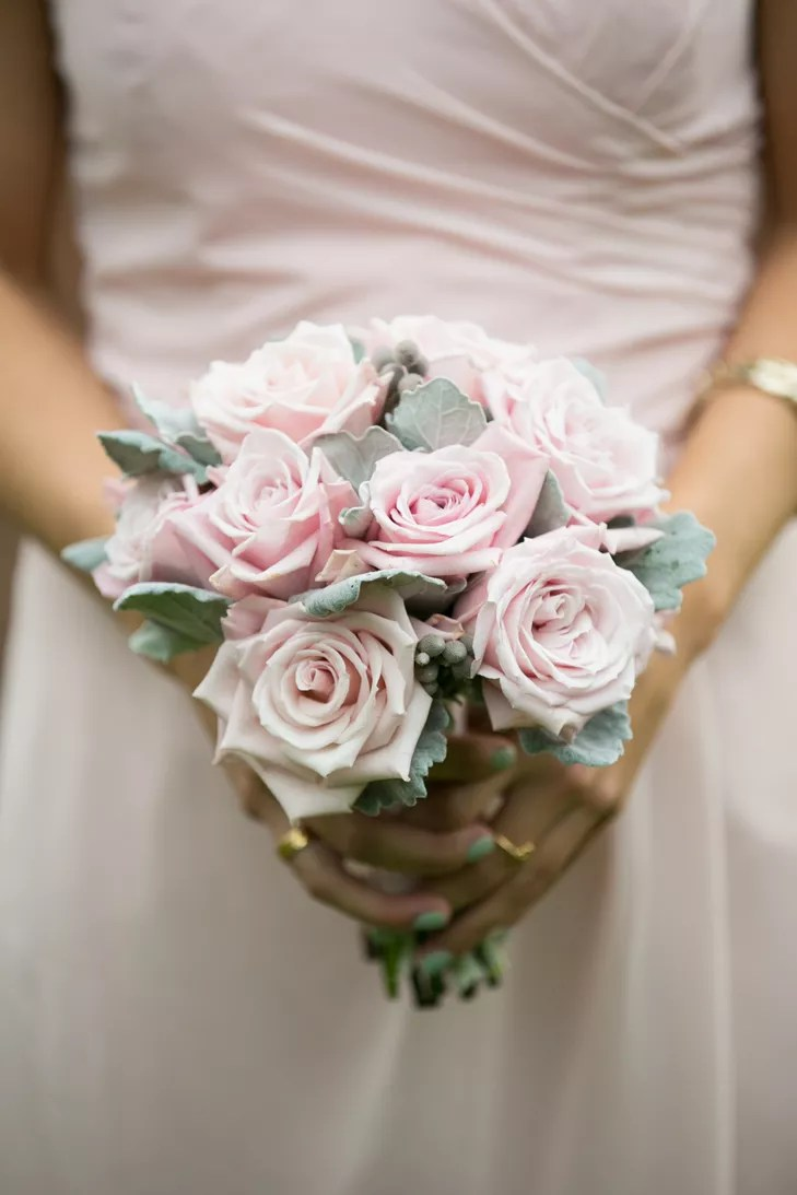 Blush Rose And Dusty Miller Bouquet