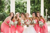 Bride with Bridesmaids in Coral Dresses