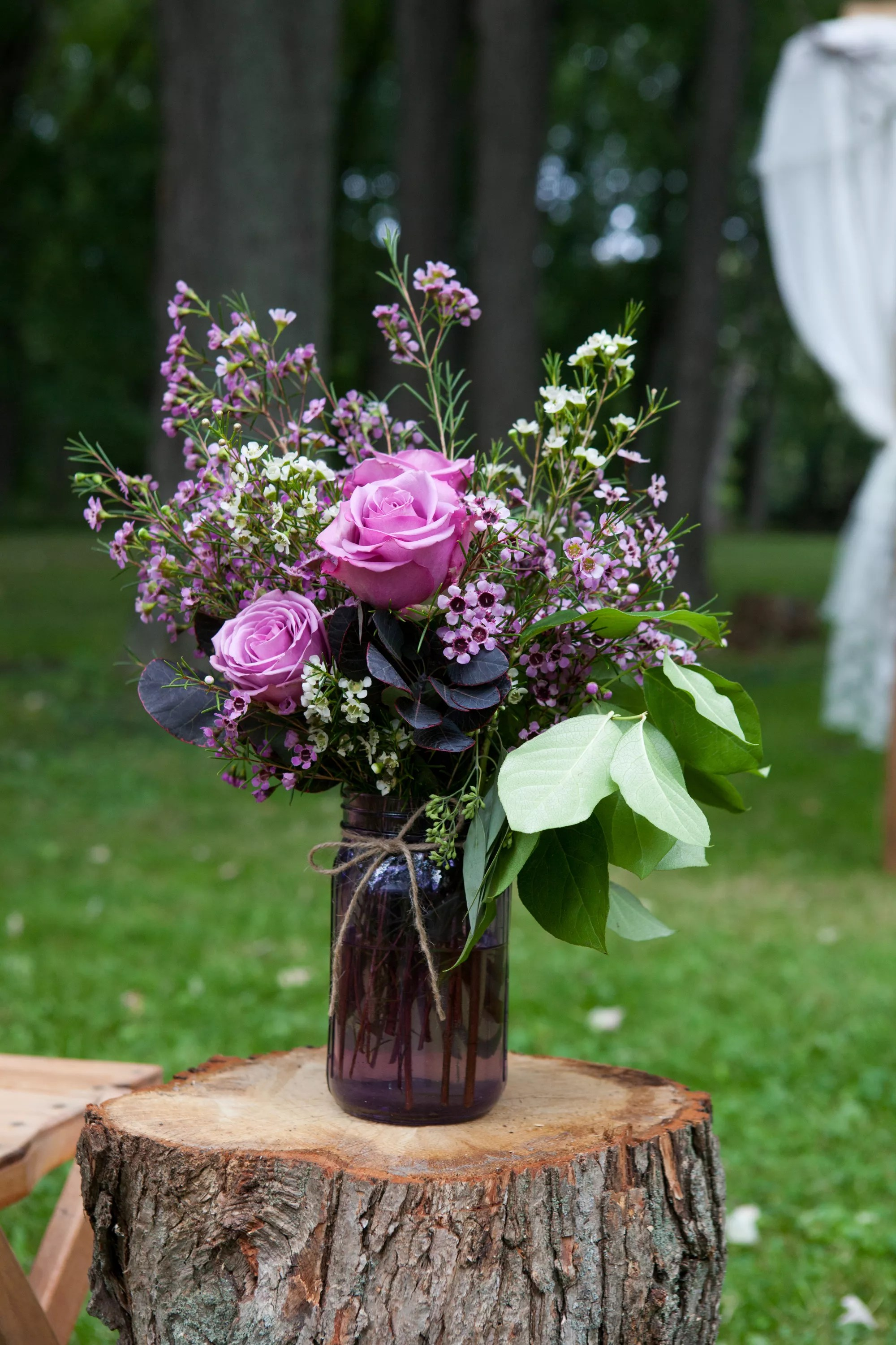 Purple Rose and WaxFlower MasonJar Decoration