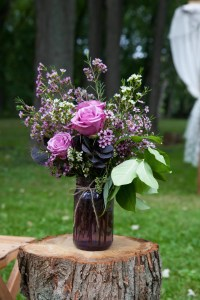 Purple Rose and Wax-Flower Mason-Jar Decoration