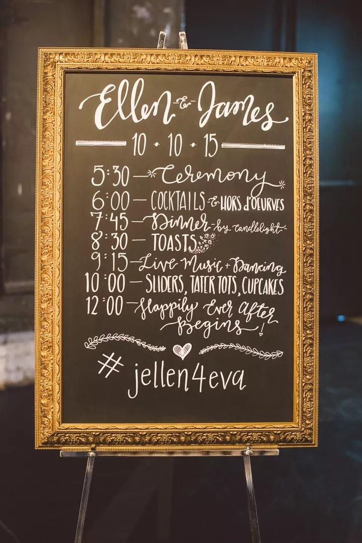 Framed Chalkboard Wedding Schedule Sign