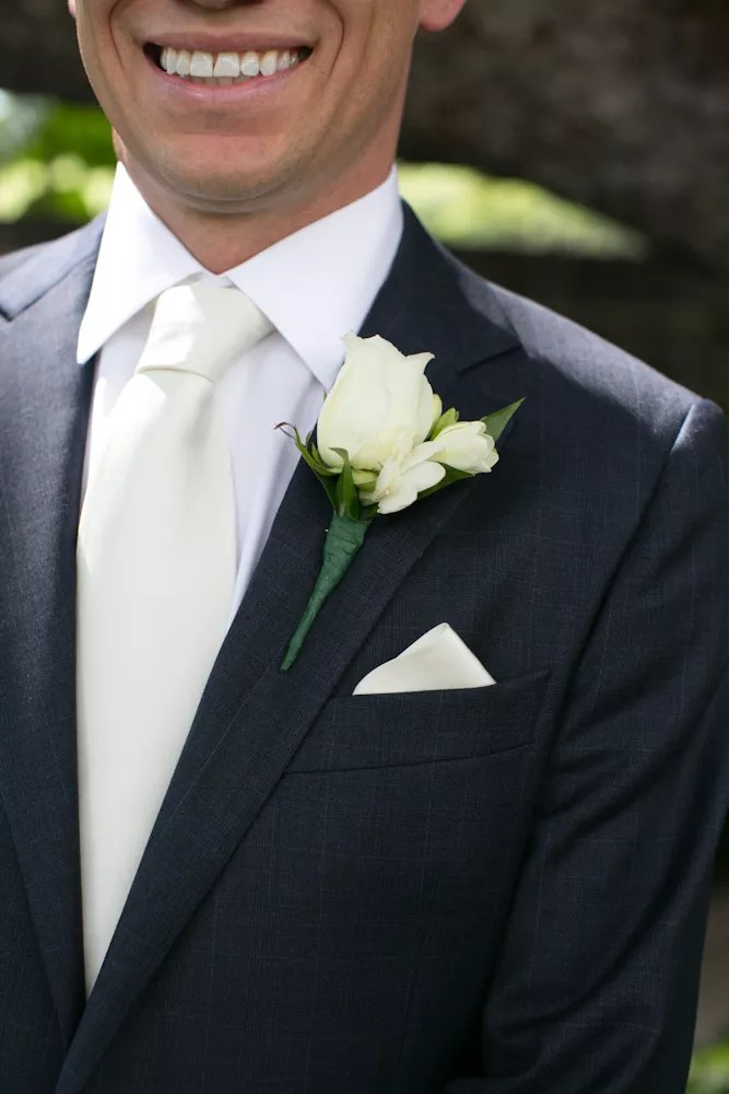Ivory Boutonniere Tie And Pocket Square