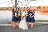 Navy Bridesmaids Dresses with Hot Pink Shoes