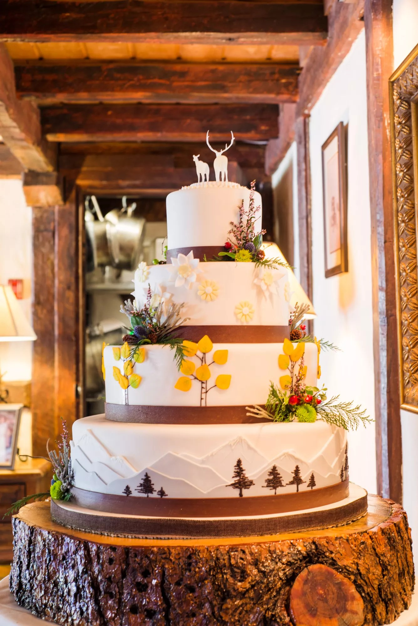 Four Tier Forest Themed Wedding Cake