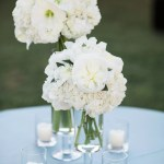 White Flower Centerpiece With Tea Candles
