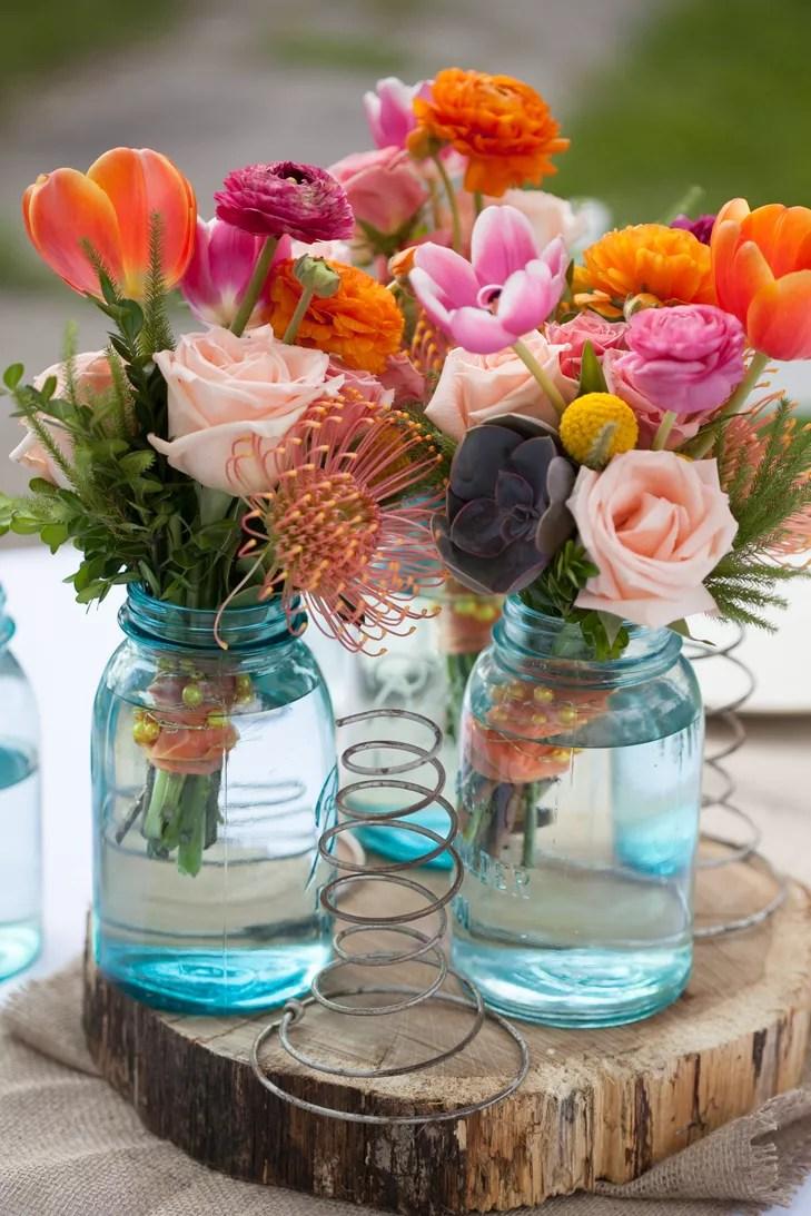 Blue Mason JarFilled Wedding Reception Centerpieces