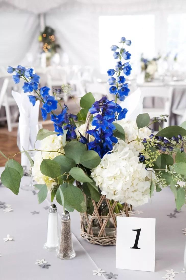 Ivory Hydrangea and Blue Delphinium Centerpieces