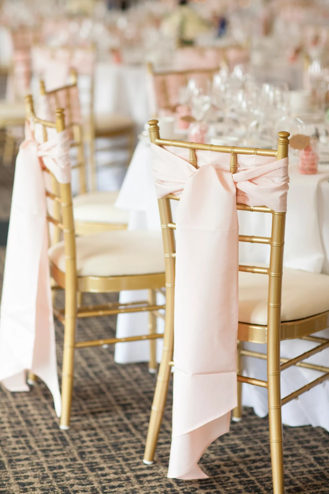 blush chair sashes diy universal covers gold chiavari chairs with sash ties
