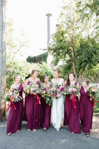 Long Wine-Colored Bridesmaid Dresses