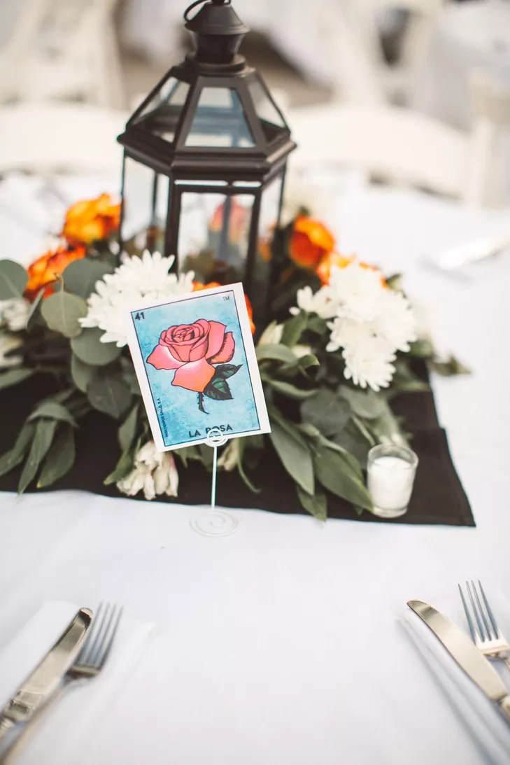 Black Lantern Centerpiece With Traditional Mexican Loteria