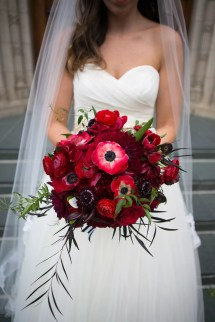Red Anemone And Fiddlehead Fern Bridal Bouquet