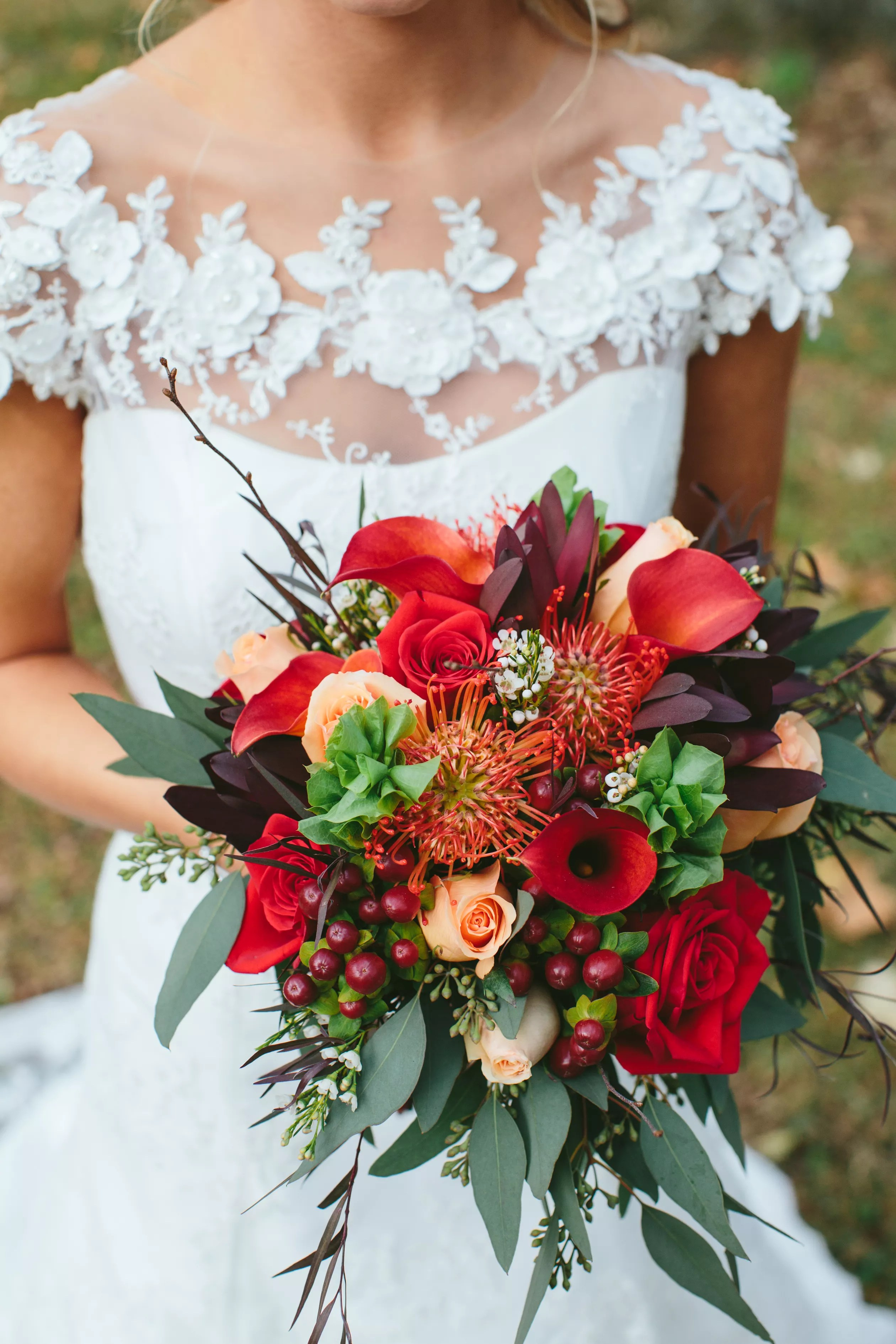 Burgundy Fall Bouquet with Calla Lilies and Eucalyptus