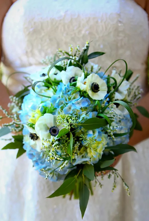 Blue Hydrangea and Sunflower Centerpieces