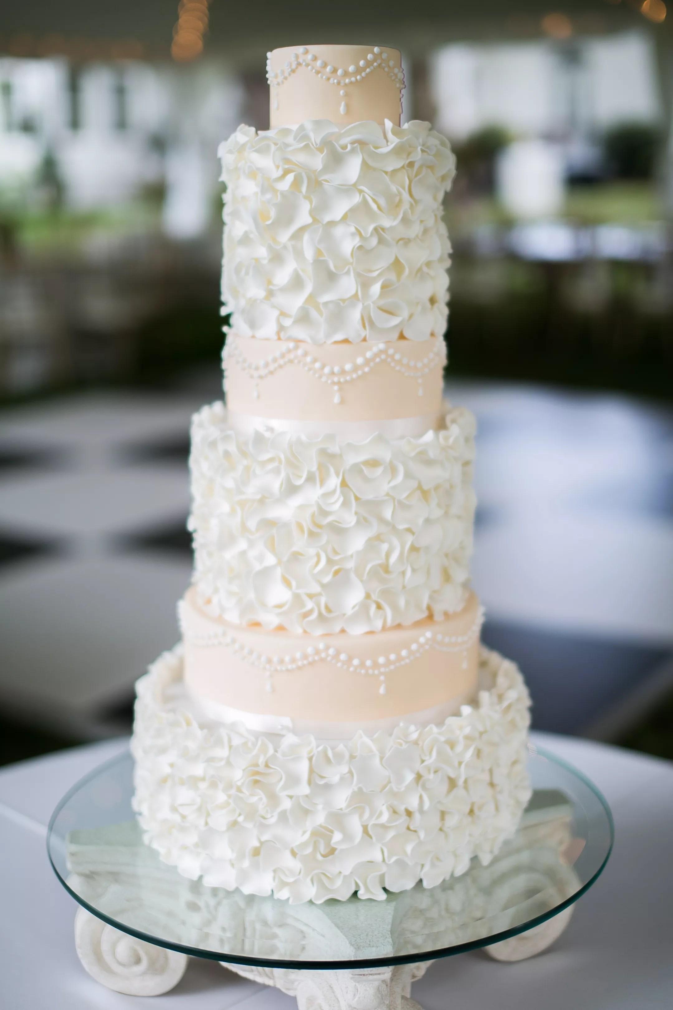 Handmade Flower Petal Embellished Wedding Cake