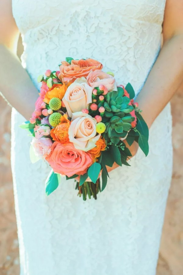 Coral and Pink Rose Bouquet with Succulents