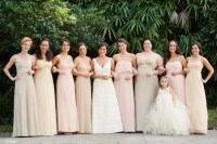 Blush and Neutral Floor-Length Bridesmaid Dresses