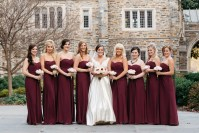 Strapless Burgundy Bridesmaid Dresses