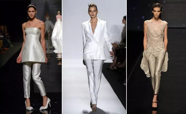 9 White Wedding Pant Suits