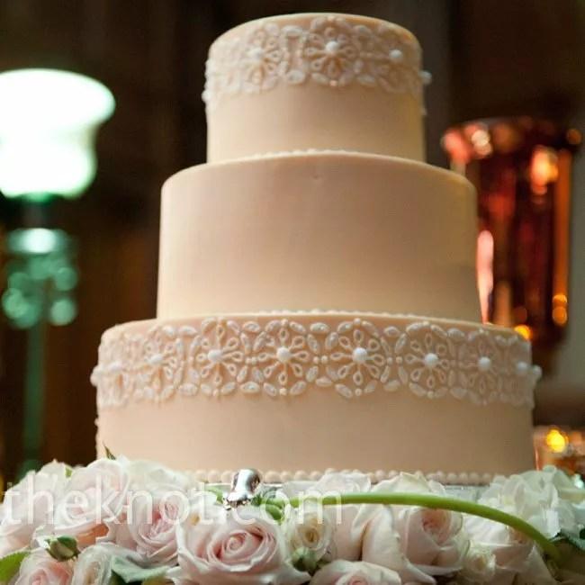 PeachColored Wedding Cake