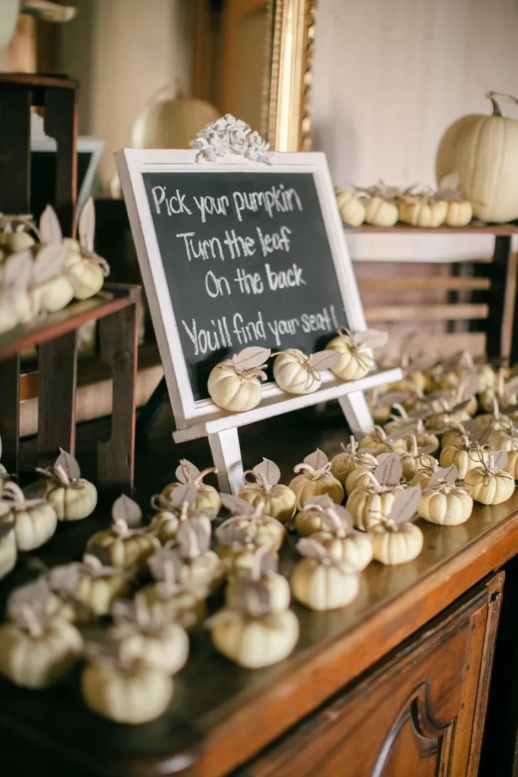 Mini White Pumpkins as Escort Cards